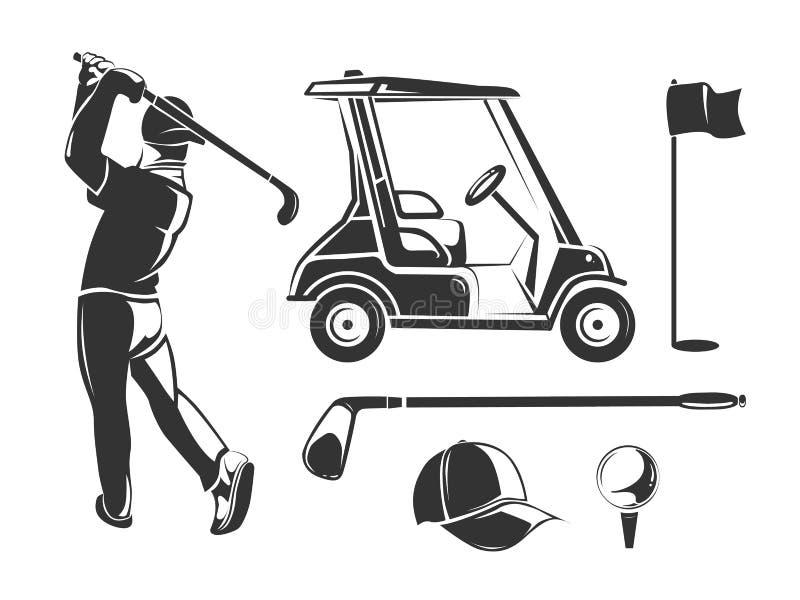Διανυσματικά εκλεκτής ποιότητας στοιχεία γκολφ για τις ετικέτες, τα εμβλήματα, τα διακριτικά και τα λογότυπα απεικόνιση αποθεμάτων