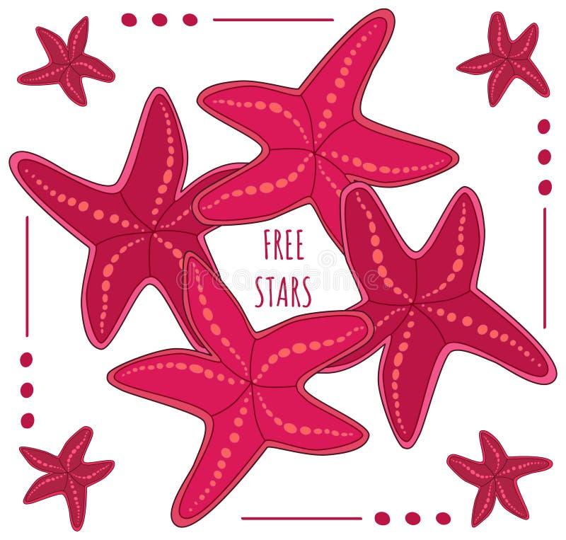 Διανυσματικά ελεύθερα αστέρια πλαισίων αστεριών απεικόνιση αποθεμάτων