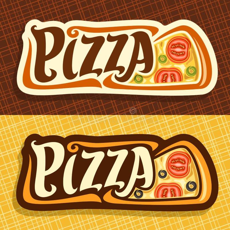 Διανυσματικά εμβλήματα για την πίτσα ελεύθερη απεικόνιση δικαιώματος