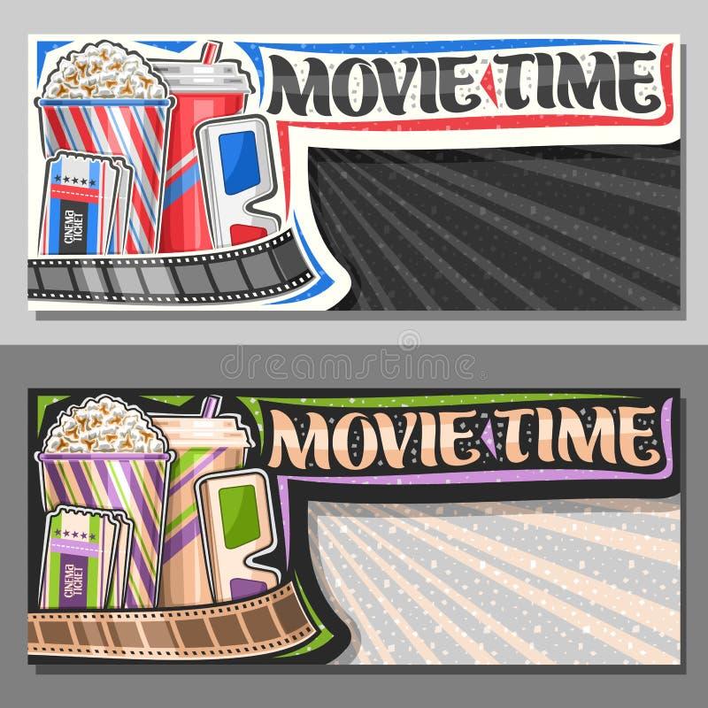 Διανυσματικά εμβλήματα για το χρόνο κινηματογράφων διανυσματική απεικόνιση