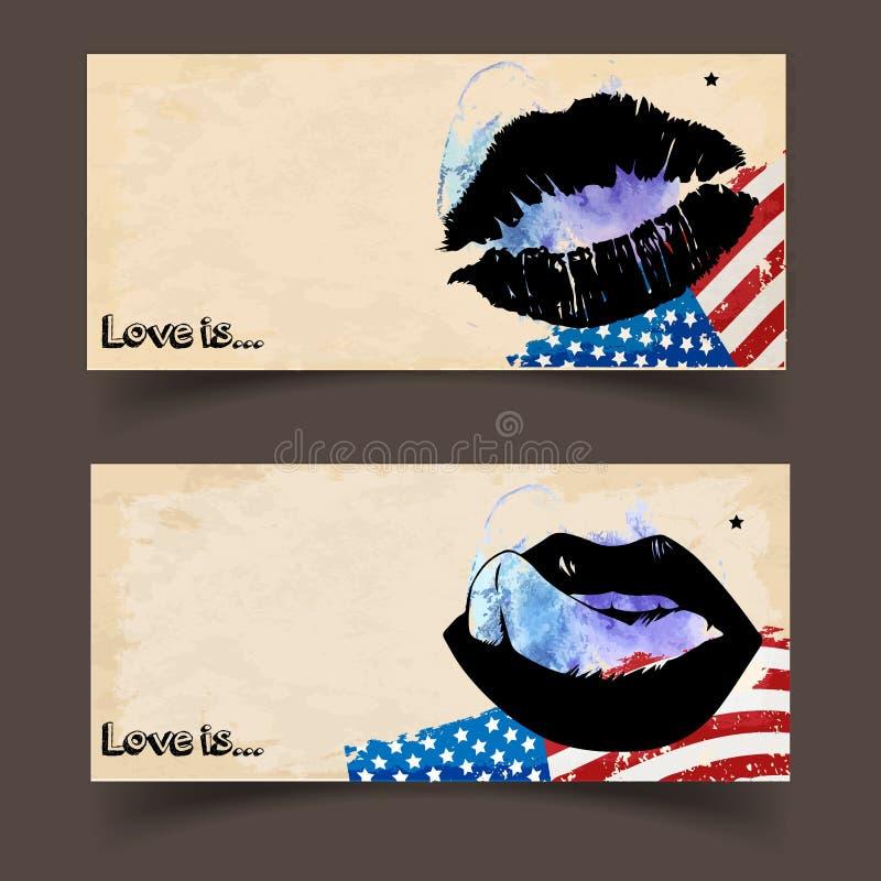 Διανυσματικά εμβλήματα με τη θηλυκή χειλική τυπωμένη ύλη αμερικανικών σημαιών και σφραγίδων ελεύθερη απεικόνιση δικαιώματος