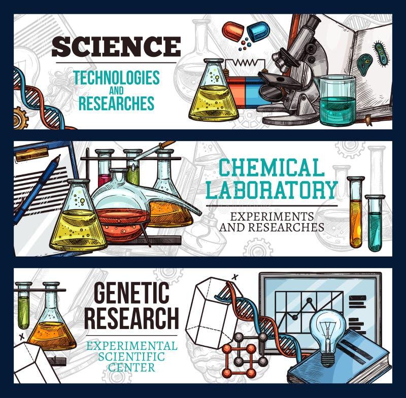 Διανυσματικά εμβλήματα σκίτσων για την επιστήμη και την έρευνα διανυσματική απεικόνιση