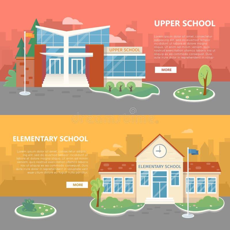 Διανυσματικά εμβλήματα ανώτερου και δημοτικού σχολείου ελεύθερη απεικόνιση δικαιώματος