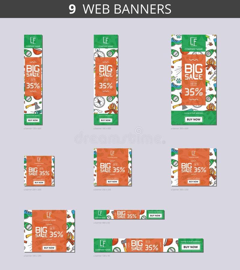 Διανυσματικά εμβλήματα Ιστού διαφήμισης με τη μεγάλη πώληση και με τον άγριο τουρισμό σχεδίων απεικόνιση αποθεμάτων