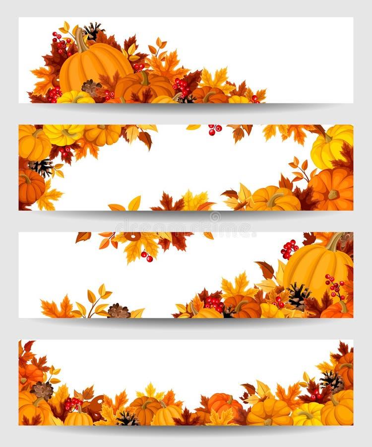 Διανυσματικά εμβλήματα με τις πορτοκαλιά κολοκύθες και τα φύλλα φθινοπώρου απεικόνιση αποθεμάτων