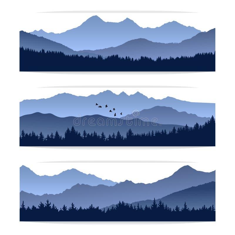 Διανυσματικά εμβλήματα με τις σκιαγραφίες των βουνών και του δάσους απεικόνιση αποθεμάτων