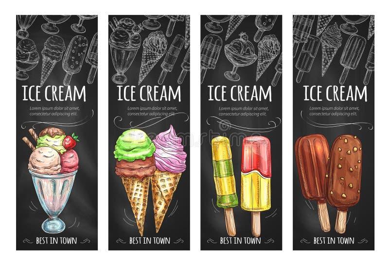 Διανυσματικά εμβλήματα που τίθενται για τα φρέσκα επιδόρπια παγωτού απεικόνιση αποθεμάτων