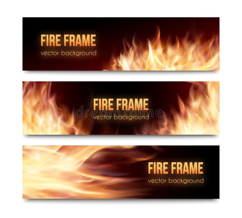 Διανυσματικά εμβλήματα που τίθενται με τις ρεαλιστικές φλόγες πυρκαγιάς διανυσματική απεικόνιση