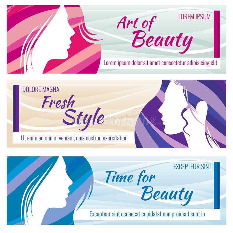 Διανυσματικά εμβλήματα σαλονιών ομορφιάς που τίθενται με το όμορφο νέο πρόσωπο γυναικών διανυσματική απεικόνιση