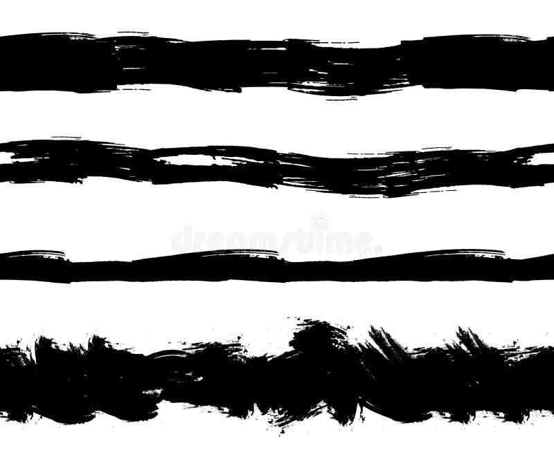 Διανυσματικά επίπεδα άνευ ραφής λωρίδες Splatters μελανιού, γραμμές Grunge καθορισμένες απομονωμένες απεικόνιση αποθεμάτων