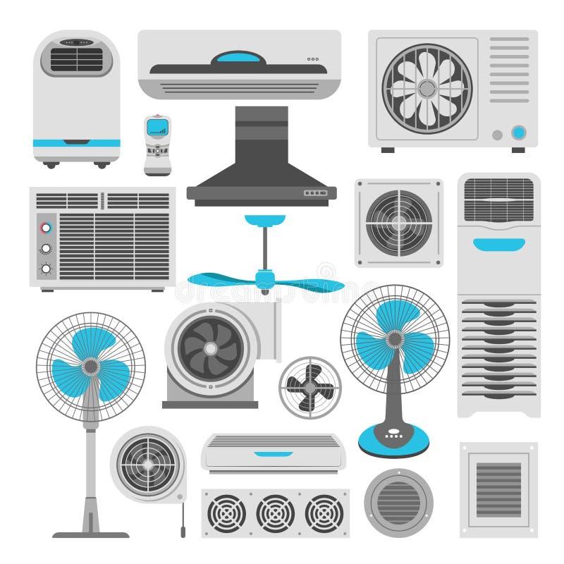 Διανυσματικά επίπεδα εικονίδια κλιματιστικών μηχανημάτων και υγραντών ανεμιστήρων ή εξαγνιστών αέρα καθορισμένα ελεύθερη απεικόνιση δικαιώματος