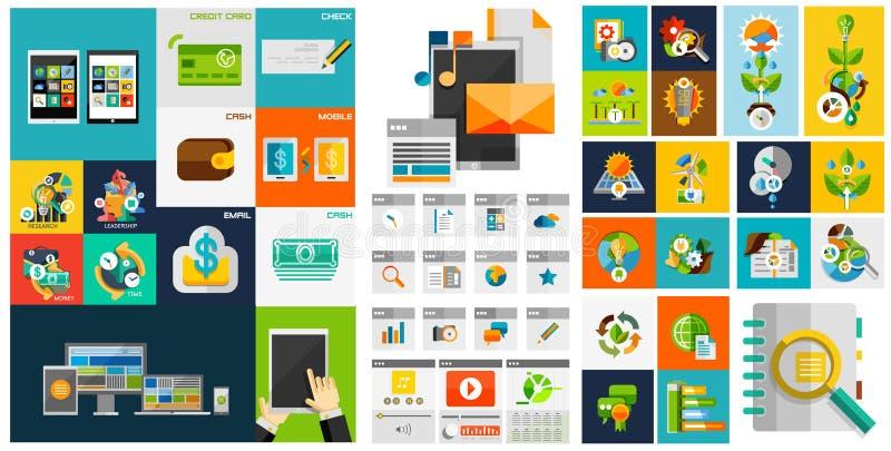 Διανυσματικά επίπεδα στοιχεία σχεδίου, στοιχεία σχεδίου Ιστού, κουμπιά, εικονίδια διανυσματική απεικόνιση