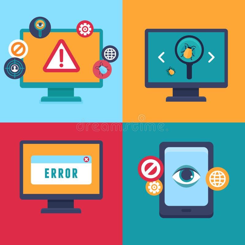 Διανυσματικά επίπεδα εικονίδια - ασφάλεια και ιός Διαδικτύου απεικόνιση αποθεμάτων
