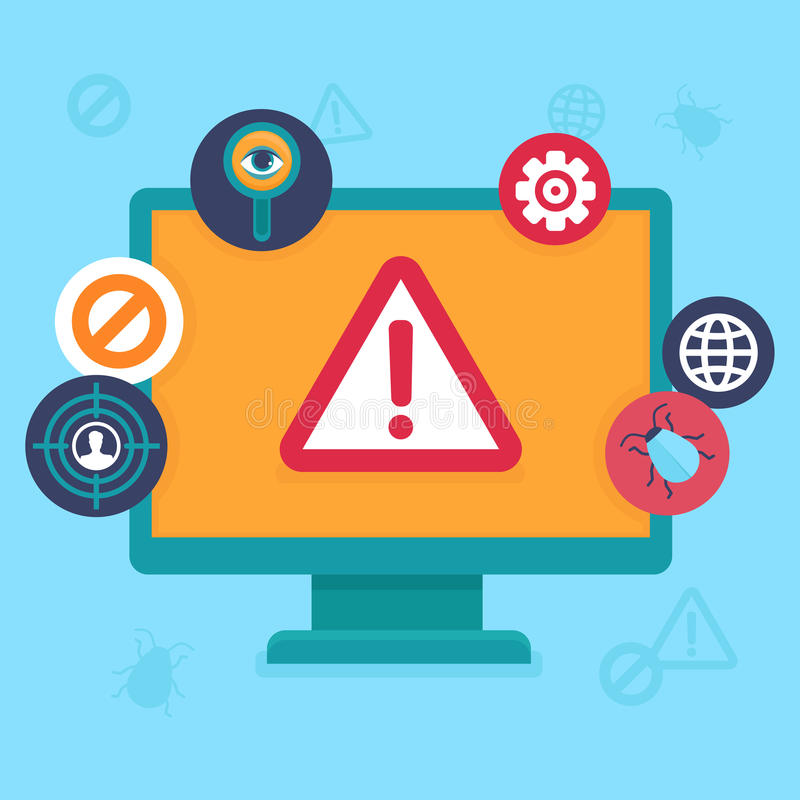 Διανυσματικά επίπεδα εικονίδια - ασφάλεια και ιός Διαδικτύου ελεύθερη απεικόνιση δικαιώματος