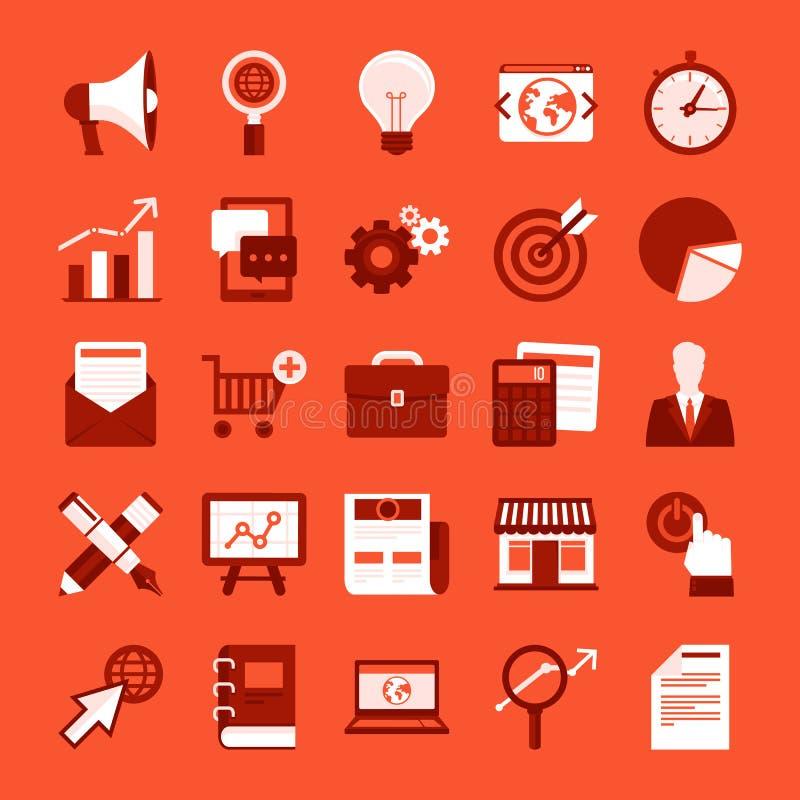 Διανυσματικά επίπεδα εικονίδια - μάρκετινγκ Διαδικτύου διανυσματική απεικόνιση