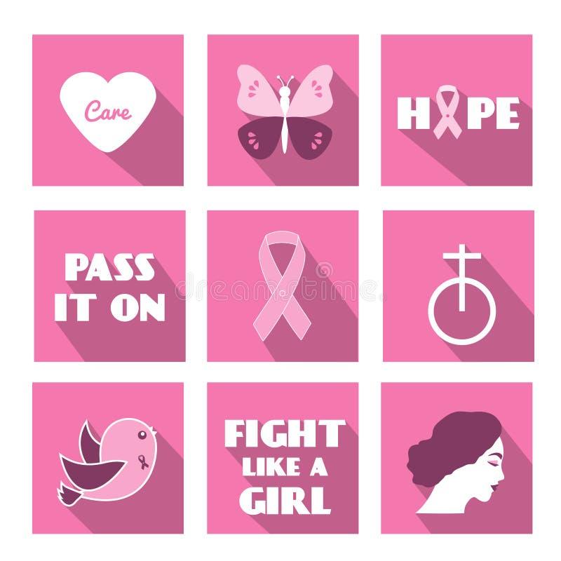 Διανυσματικά επίπεδα εικονίδια μήνα συνειδητοποίησης καρκίνου του μαστού με το σύνθημα, τις φράσεις και τα σύμβολα ελεύθερη απεικόνιση δικαιώματος