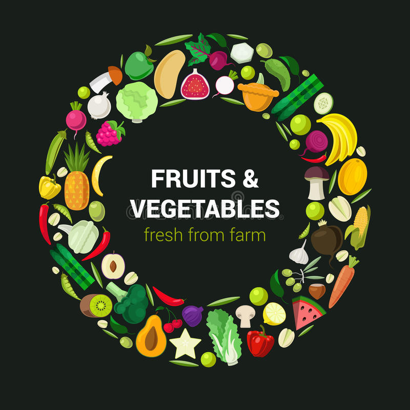 Διανυσματικά επίπεδα εικονίδια τροφίμων Eco: φρούτα και λαχανικά απεικόνιση αποθεμάτων