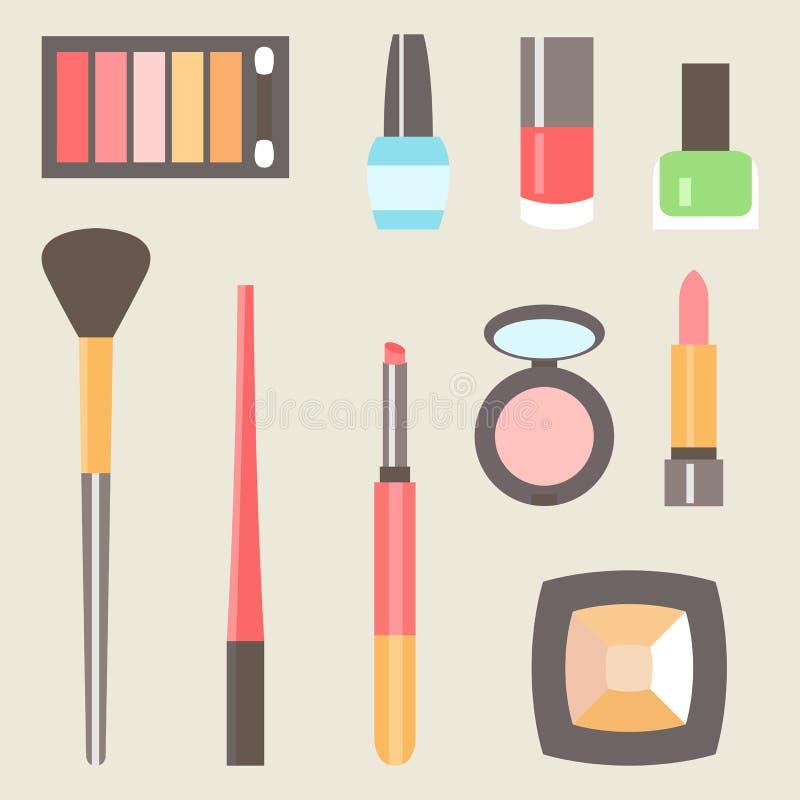 Διανυσματικά επίπεδα διακοσμητικά καλλυντικά ομορφιάς fashoin καθορισμένα απεικόνιση αποθεμάτων