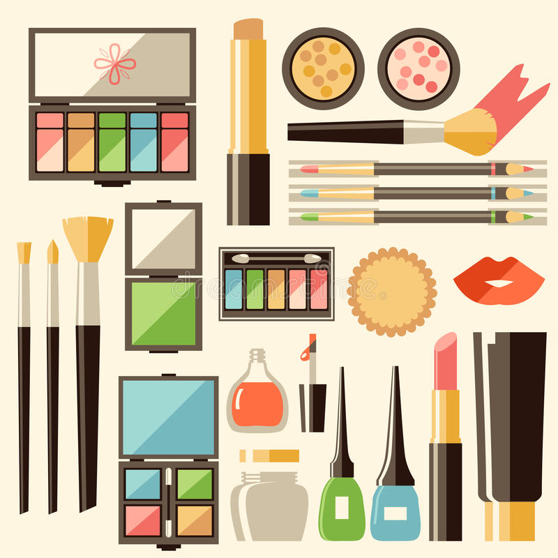 Διανυσματικά επίπεδα καλλυντικά καθορισμένα Προϊόντα μόδας ομορφιάς Διακοσμητικό γ απεικόνιση αποθεμάτων