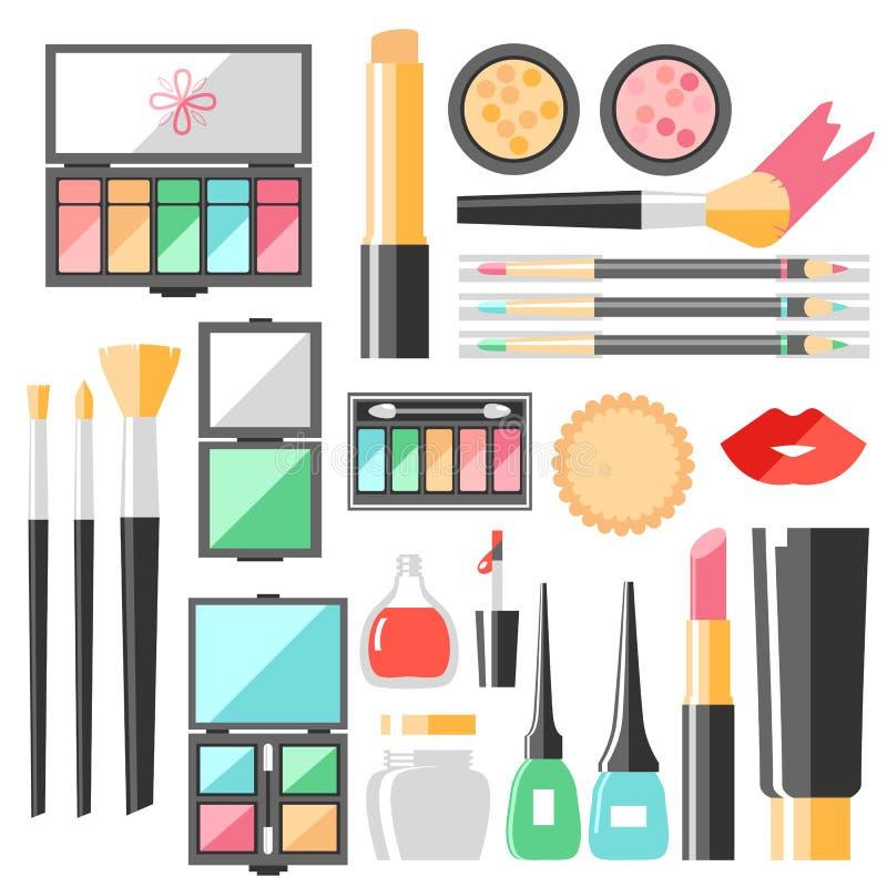 Διανυσματικά επίπεδα καλλυντικά καθορισμένα Προϊόντα μόδας ομορφιάς Διακοσμητικό γ διανυσματική απεικόνιση
