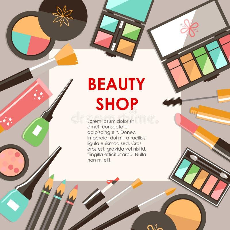 Διανυσματικά επίπεδα καλλυντικά bacground Προϊόντα μόδας ομορφιάς Ευπρέπειες ελεύθερη απεικόνιση δικαιώματος