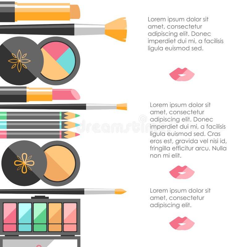 Διανυσματικά επίπεδα καλλυντικά bacground Προϊόντα μόδας ομορφιάς Ευπρέπειες διανυσματική απεικόνιση