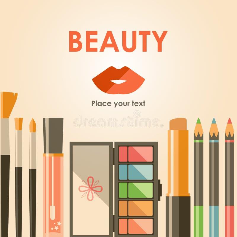 Διανυσματικά επίπεδα καλλυντικά bacground Προϊόντα μόδας ομορφιάς Ευπρέπειες απεικόνιση αποθεμάτων