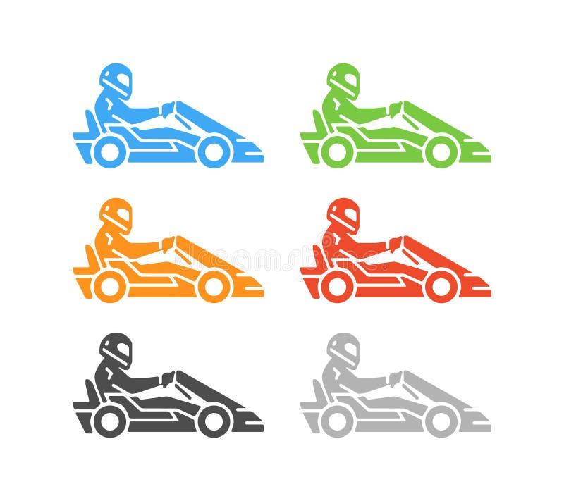 Διανυσματικά επίπεδα karting λογότυπο και σύμβολο ελεύθερη απεικόνιση δικαιώματος