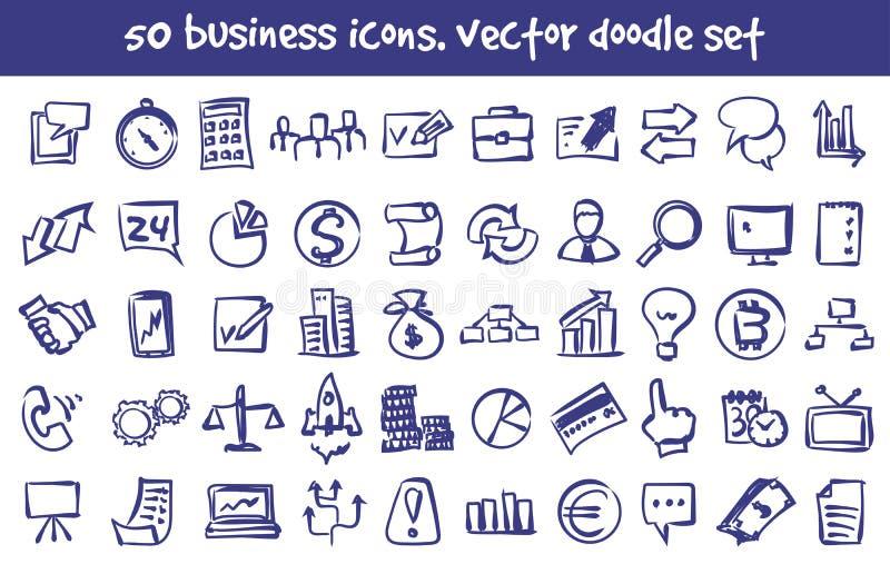 Διανυσματικά επιχειρησιακά εικονίδια doodle καθορισμένα διανυσματική απεικόνιση