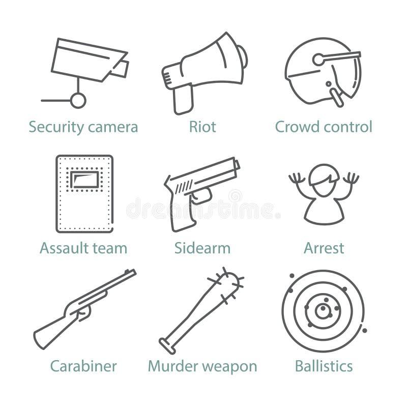 Διανυσματικά λεπτά εικονίδια αστυνομίας γραμμών για το infographics και τα παιχνίδια UX/UI διανυσματική απεικόνιση