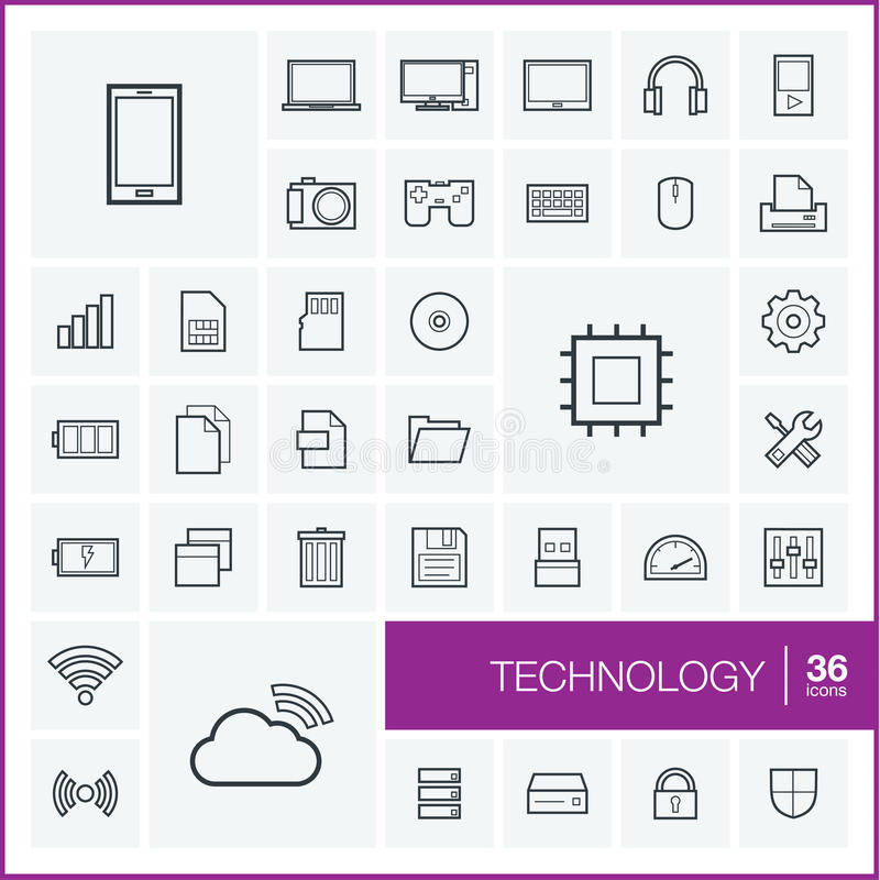 Διανυσματικά λεπτά εικονίδια γραμμών καθορισμένα τεχνολογία απεικόνιση αποθεμάτων