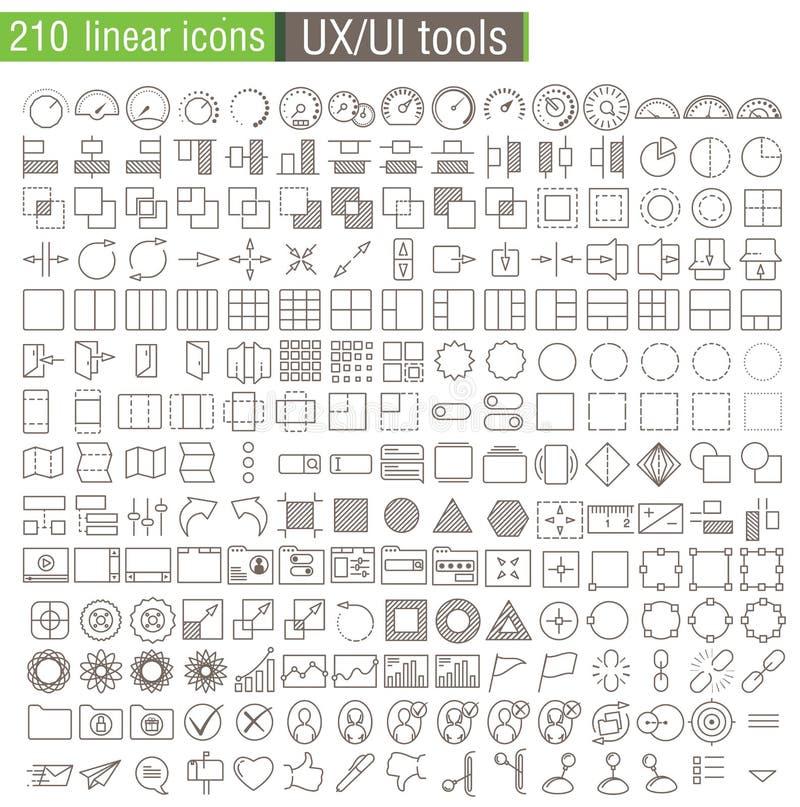 Διανυσματικά λεπτά εικονίδια γραμμών που τίθενται για τα πρωτότυπα UX/UI διανυσματική απεικόνιση