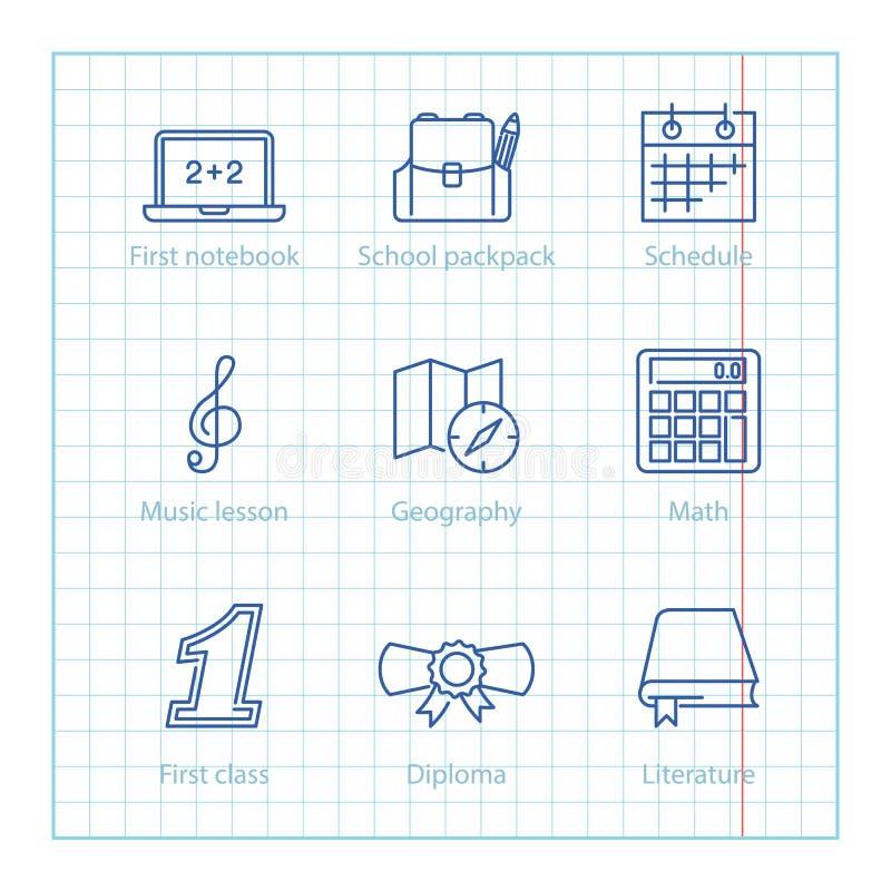 Διανυσματικά λεπτά εικονίδια γραμμών που τίθενται για την εκπαίδευση και την επιστήμη infographic απεικόνιση αποθεμάτων