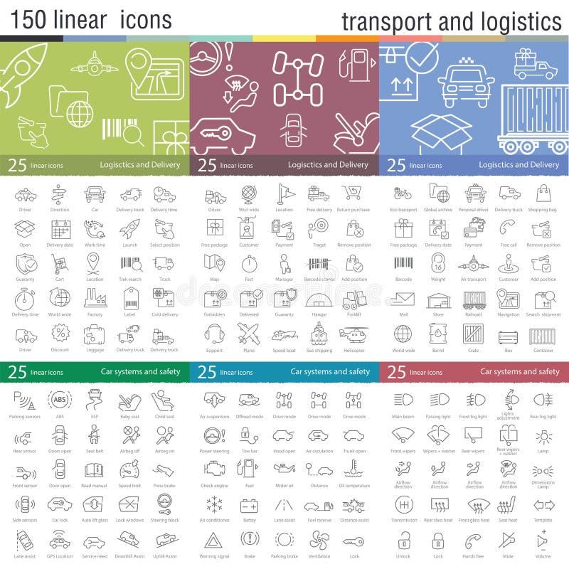 Διανυσματικά λεπτά εικονίδια γραμμών που τίθενται για τη μεταφορά απεικόνιση αποθεμάτων
