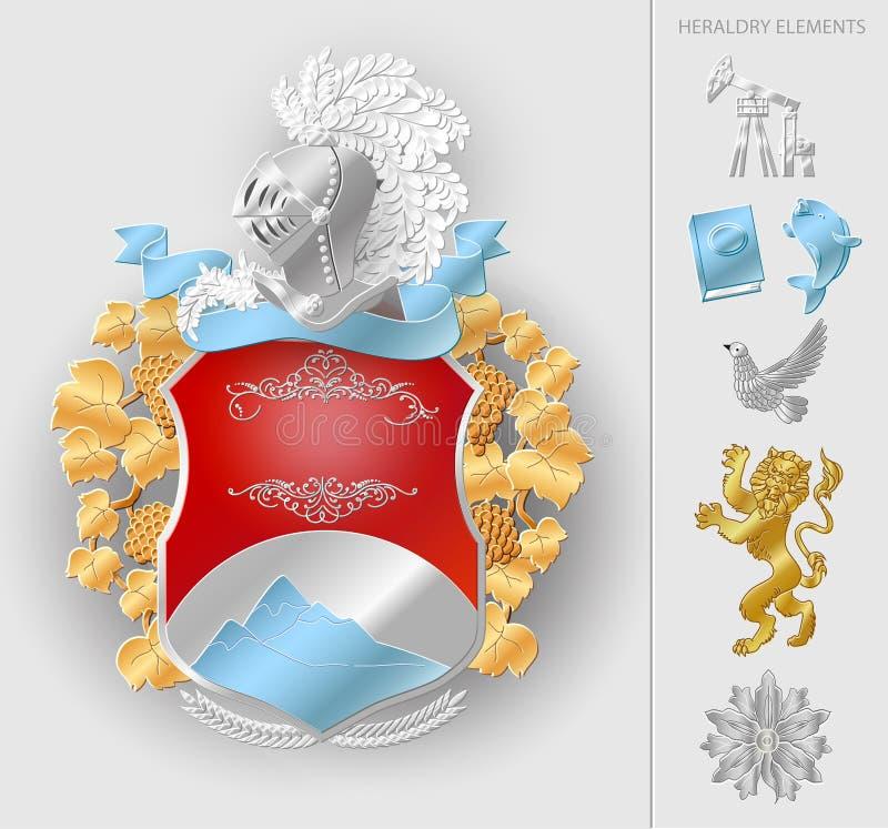 Διανυσματικά εραλδικά στοιχεία καλύψεων των όπλων καθορισμένα διανυσματική απεικόνιση