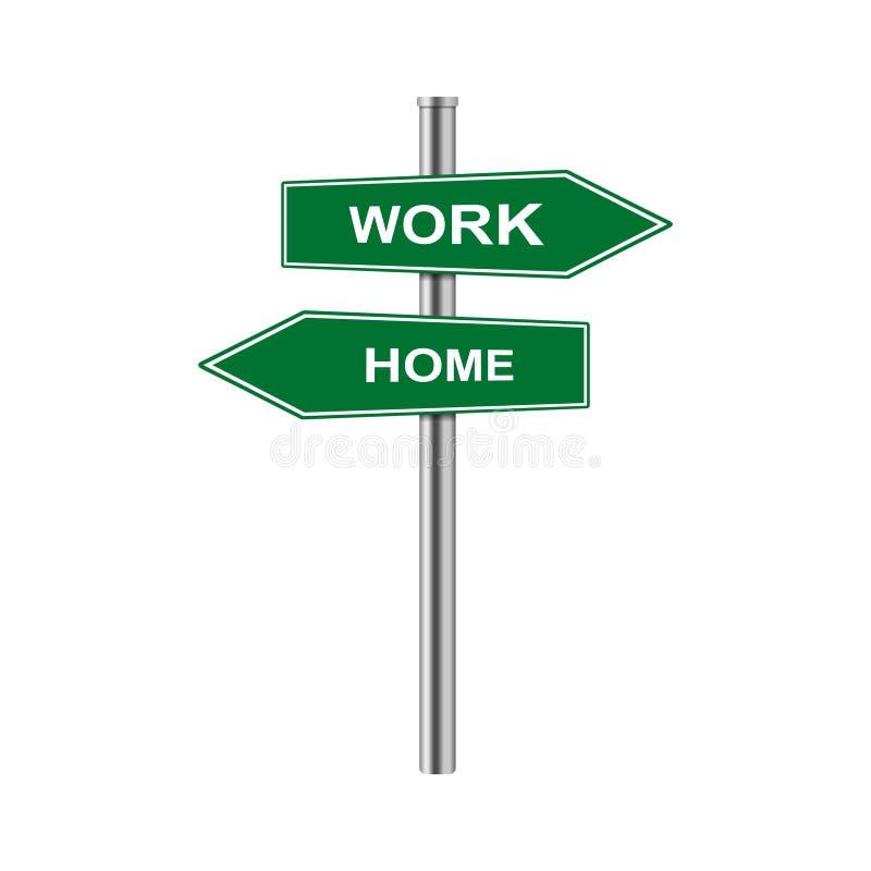 Διανυσματικά εργασία και σπίτι σημαδιών βελών αποθεμάτων ελεύθερη απεικόνιση δικαιώματος
