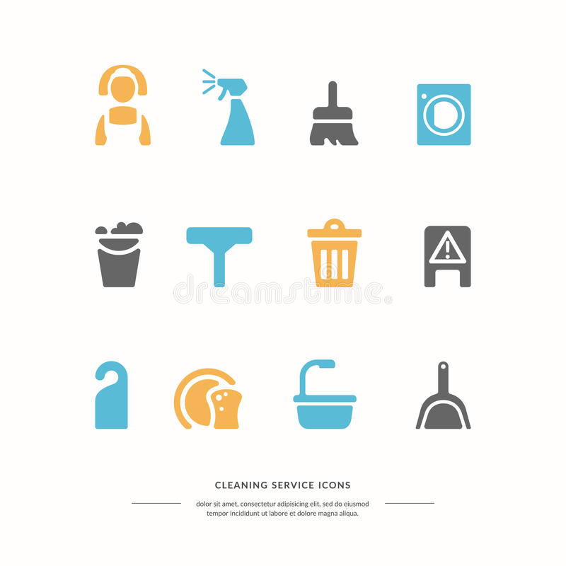 Διανυσματικά ζωηρόχρωμα εικονίδια καθορισμένα καθαρίζοντας υπηρεσία απεικόνιση αποθεμάτων
