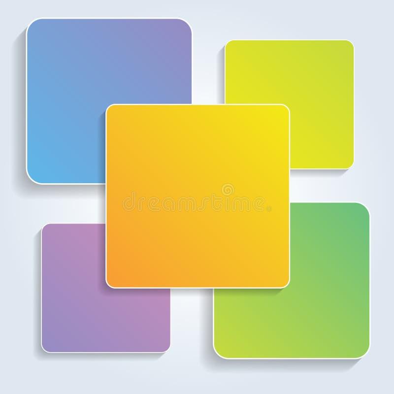 Διανυσματικά ζωηρόχρωμα τετράγωνα για το infographics διανυσματική απεικόνιση