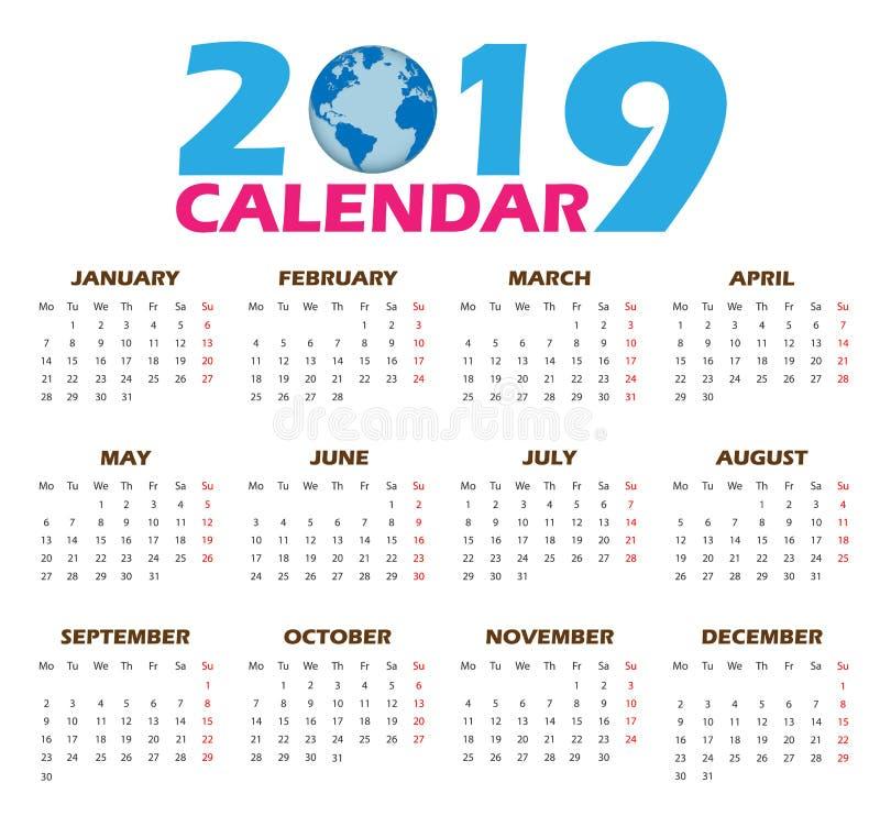 Διανυσματικά ημερολογιακά πρότυπα 2019 απεικόνιση αποθεμάτων