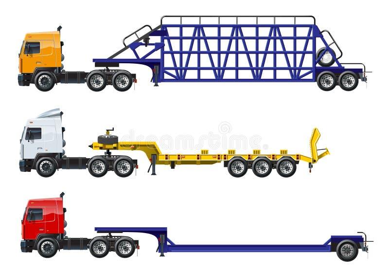 Διανυσματικά ημι φορτηγά καθορισμένα απομονωμένα στο λευκό διανυσματική απεικόνιση