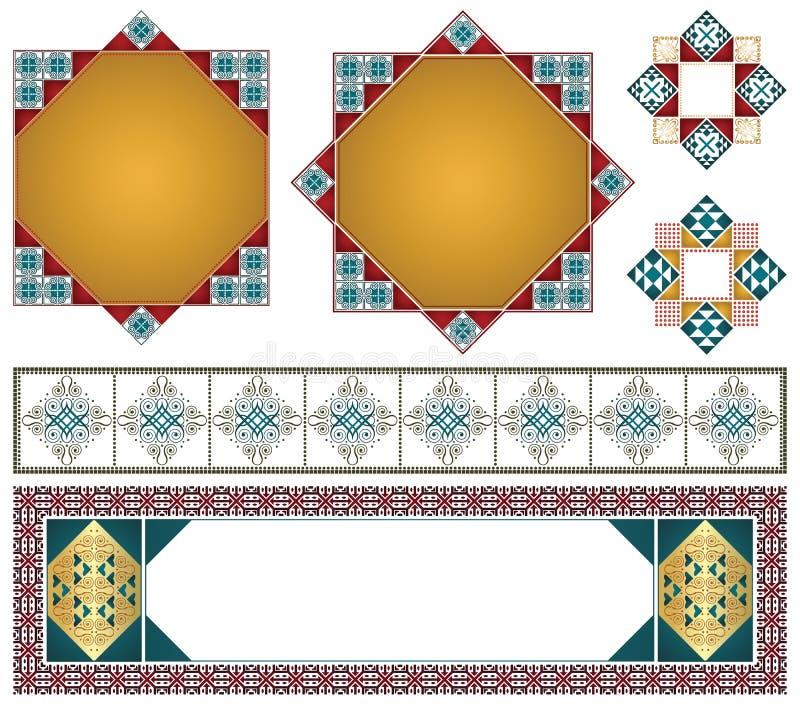 Διανυσματικά διακοσμητικά στοιχεία για το σχέδιο του διπλώματος, των διαφημίσεων, του φακέλου, του γάμου και άλλων προσκλήσεων ή  διανυσματική απεικόνιση