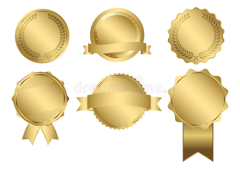 Διανυσματικά διακριτικά της χρυσής σφραγίδας διανυσματική απεικόνιση