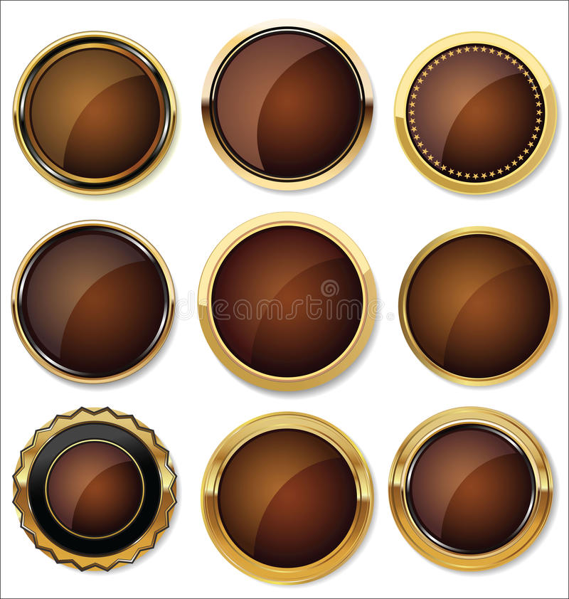 Διανυσματικά διακριτικά του χρυσού και μαύρου συνόλου σφραγίδων ελεύθερη απεικόνιση δικαιώματος