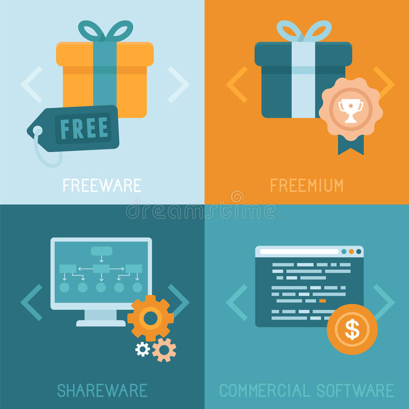 Διανυσματικά διαφορετικά επιχειρησιακά πρότυπα της διανομής apps ελεύθερη απεικόνιση δικαιώματος