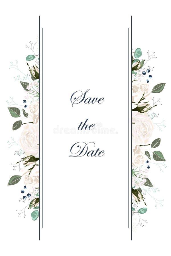Διανυσματικά κάθετα εμβλήματα με τα άσπρα λουλούδια τριαντάφυλλων κήπων Ρομαντικό σχέδιο για τα προϊόντα γυναικών διανυσματική απεικόνιση