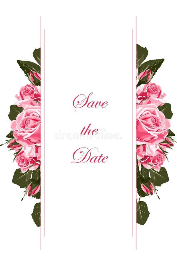Διανυσματικά κάθετα εμβλήματα με τα λουλούδια τριαντάφυλλων κήπων στο άσπρο υπόβαθρο διανυσματική απεικόνιση