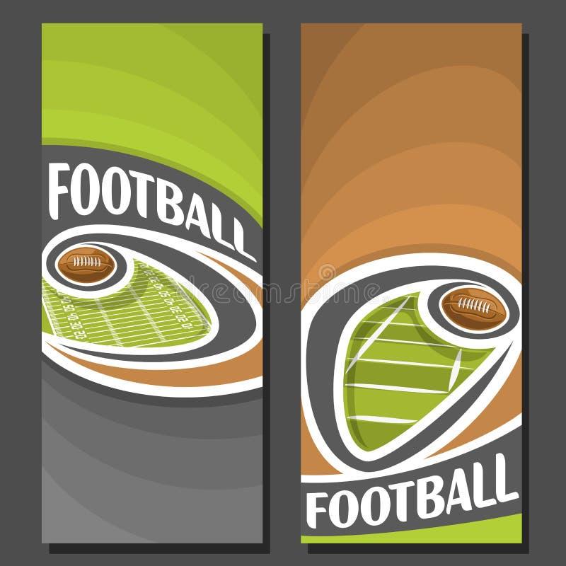 Διανυσματικά κάθετα εμβλήματα για το αμερικανικό ποδόσφαιρο ελεύθερη απεικόνιση δικαιώματος