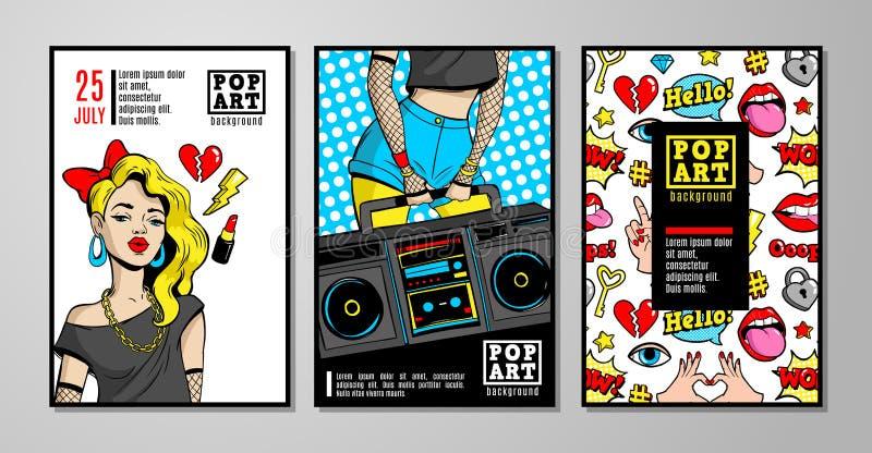 Διανυσματικά κάρτες και εμβλήματα στο κωμικό ύφος λαϊκός-τέχνης της δεκαετία του '80-δεκαετίας του '90 ελεύθερη απεικόνιση δικαιώματος