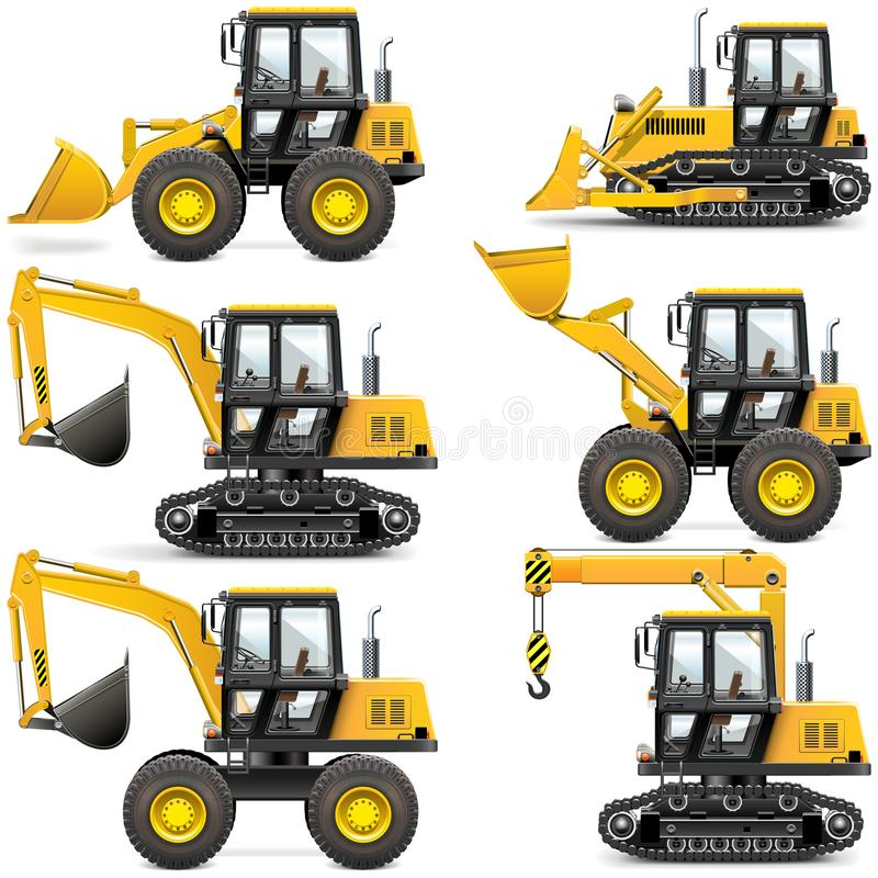 Διανυσματικά κίτρινα μηχανήματα κατασκευής ελεύθερη απεικόνιση δικαιώματος