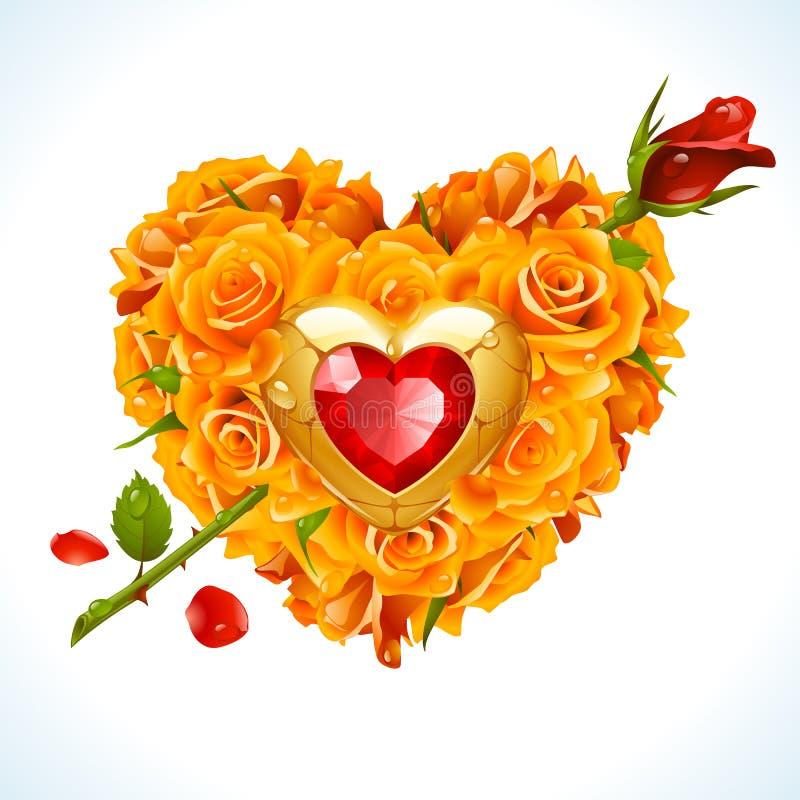 Διανυσματικά κίτρινα τριαντάφυλλα και κόκκινο κρύσταλλο με μορφή της καρδιάς ελεύθερη απεικόνιση δικαιώματος